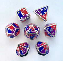 Load image into Gallery viewer, HeartBeat Dice: Bisexual Metal Pride Dice Set