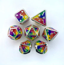 Load image into Gallery viewer, HeartBeat Dice: Rainbow Metal Pride Dice Set