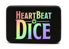 Load image into Gallery viewer, HeartBeat Dice: Ivory Rainbow Metal Pride Dice Set