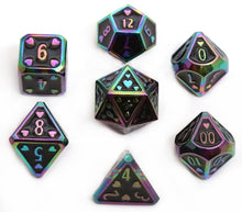 Load image into Gallery viewer, HeartBeat Dice: Ebony Rainbow Metal Pride Dice Set