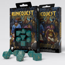 Load image into Gallery viewer, RuneQuest Turquoise & gold Dice Set