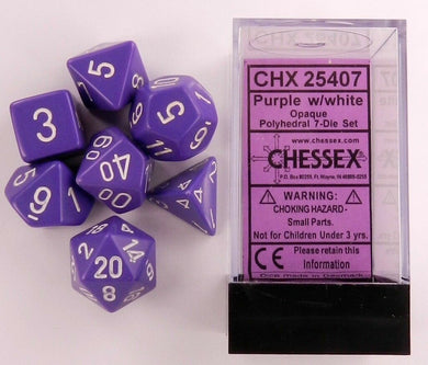 CHX25407: Purple/White Opaque Polyhedral 7-Die Set