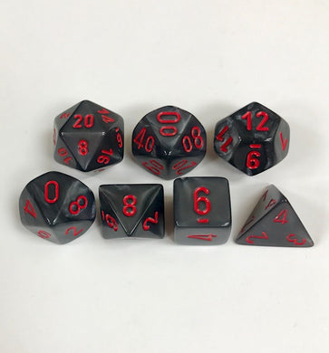 CHX27478: Velvet Black with Red Polyhedral 7-Die Set