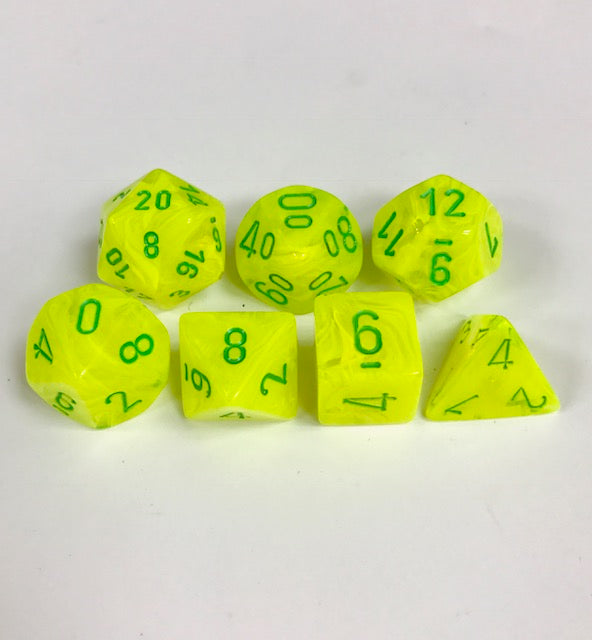 CHX27422: Menagerie Electric Yellow/Green Vortex  Polyhedral 7-Die Set