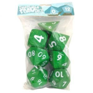 Squishy Dice Set, Light Green (2' Set of 7 Polyhedral Dice)
