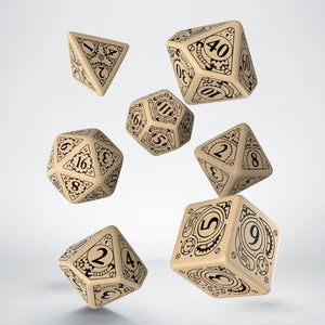 Q Workshop Beige & black Steampunk Dice Set