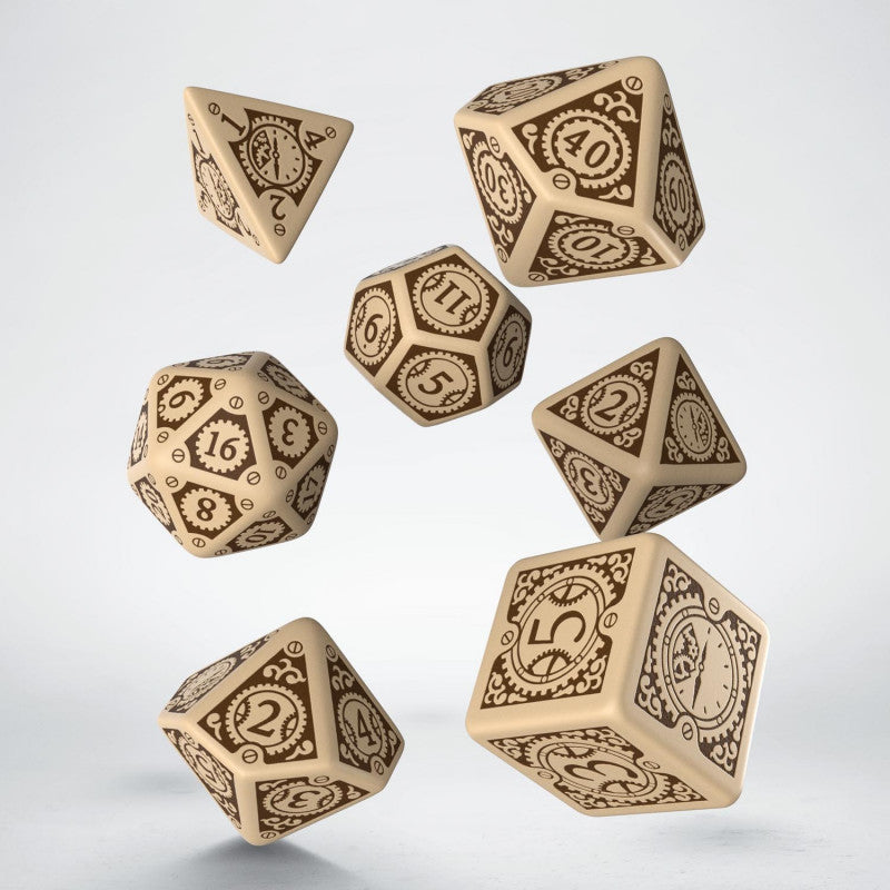 Q Workshop Beige & Brown Steampunk Clockwork Dice Set