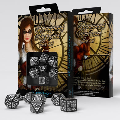 Steampunk Clockwork Black & White Dice Set