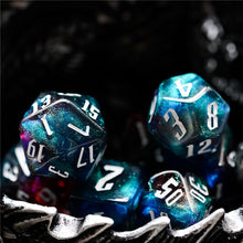 Load image into Gallery viewer, Red & Blue & Grey Glitter Dice Set