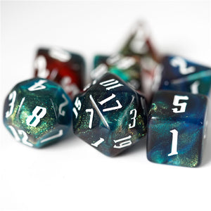 Red & Blue & Grey Glitter Dice Set