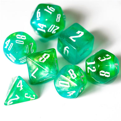 Blue & Green & Yellow Glitter Dice Set