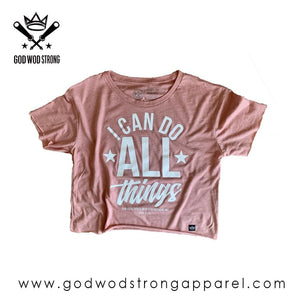 I CAN DO ALL THINGS THROUGH CHRIST WOMENS CROP TOP - PHIL 4:13