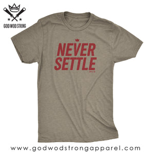 NEVER SETTLE MENS CHRISTIAN SHIRT EPHESIANS 3:20