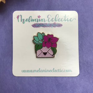 Floral Happy Mail Enamel Pin