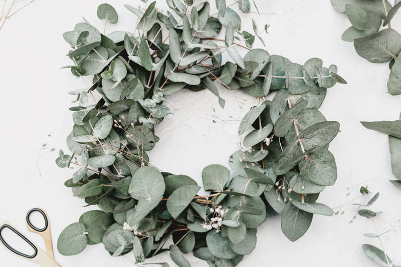 Green foliage wreath crafting