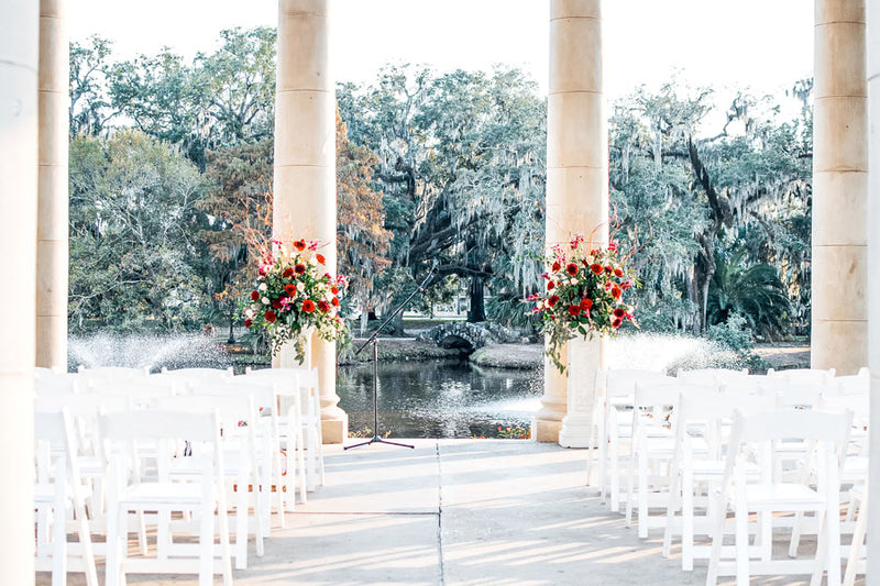 When you book a wedding venue, then this beautiful river-side wedding venue, set up with chairs and flowers, is something that many people aspire to have.