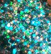 close up of the green and blue glitter