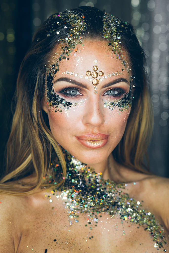 woman model for festival glitter ideas page