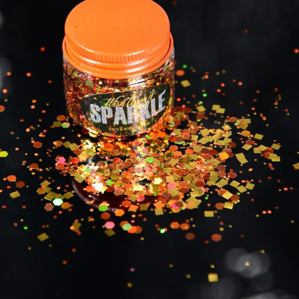 orange face glitter pot
