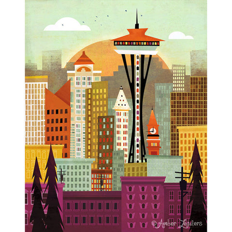 Amber Leaders Seattle Print