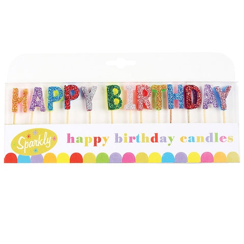 Glitter Happy Birthday Candles