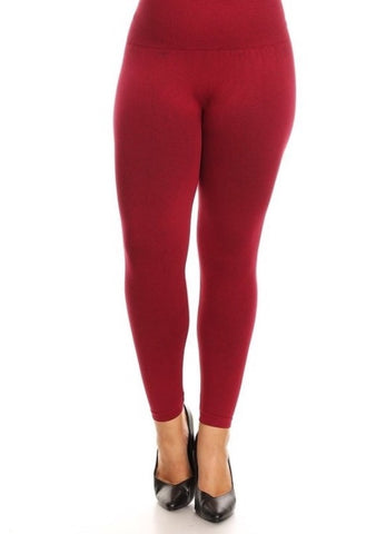 High Waist One Size Compression Leggings - Plus