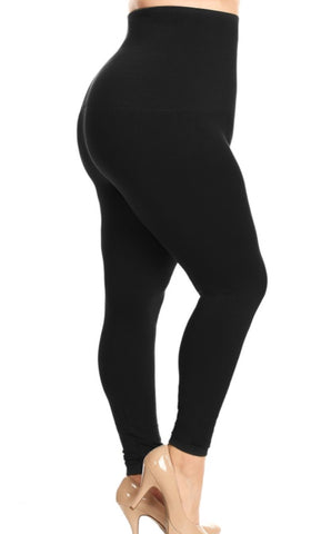High Waist Fleece-Lined Leggings (Multiple Colors) - One Size (10-20) Plus