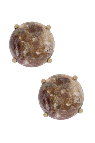 Natural Stone Stud - Brown