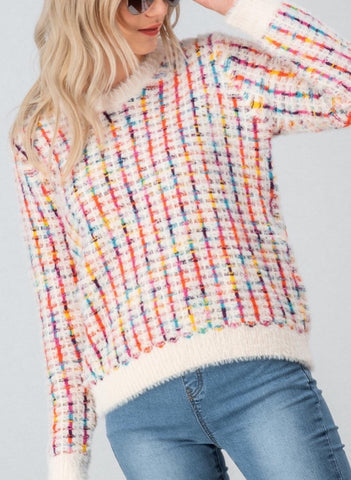 Multi-Rainbow Fuzzy Sweater