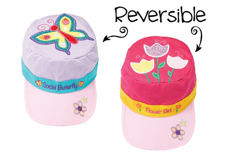 Reversible Kids' Cap - Butterfly / Tulips
