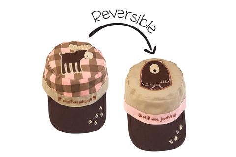 Pink Moose / Brown Bear - Reversible Kids Cap
