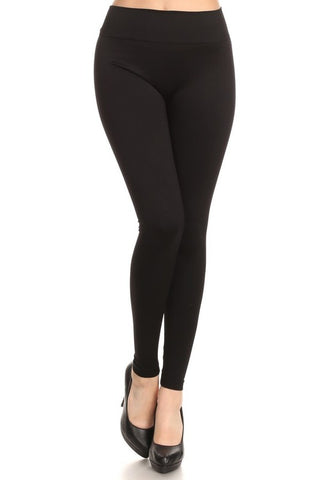 Thick Nylon Leggings - Black - One Size (S/M)