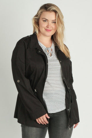 Washed Long Sleeve Drawstring Jacket - Plus