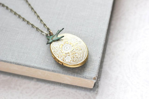Oval Locket Necklace - White Patina w Bird Charm