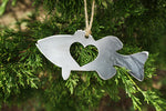 Bass Fish Steel Ornament with Heart