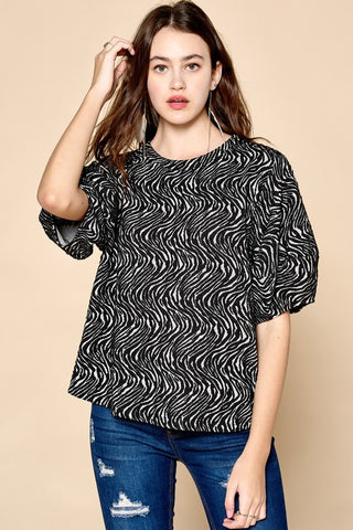 Printed Jacquard Balloon Short Sleeve Blouse