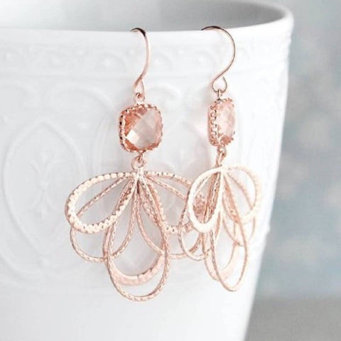 Dangle Loop Earrings - Rose Gold