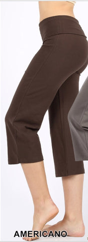Fold-Over Yoga Capri Pants - Brown