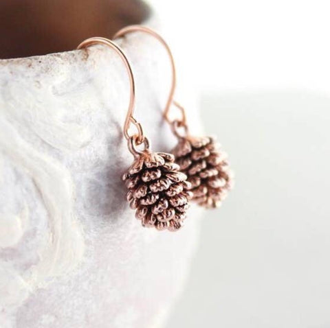 Little Pinecone Drop-Style Earrings - Rose Gold or Silver