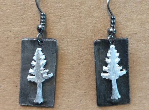 Pewter Pine Tree Earrings (Silver or Copper)