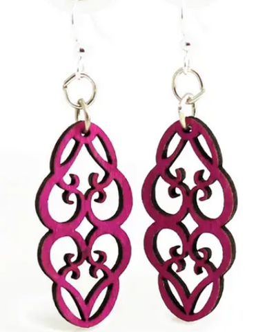 Heart in Vines Blossom Earrings - Fuschia