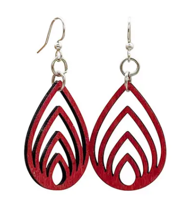 Layered Drop Earrings - Cherry Red