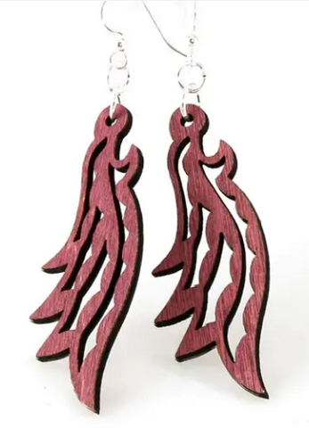 Feathered Dangle Earrings - Wine