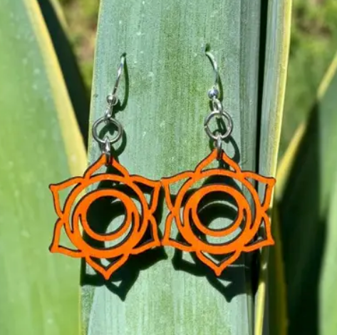 Svadhishthana Chakra Wood Earrings - Tangerine