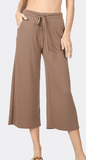 "Cropped Drawstring Lounge Pants - ""Americano"" Color"