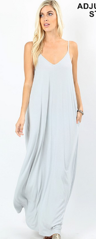 V-Neck Cami Maxi Dress (Multiple Colors)