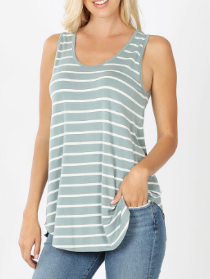 Striped Sleeveless Top - Plus