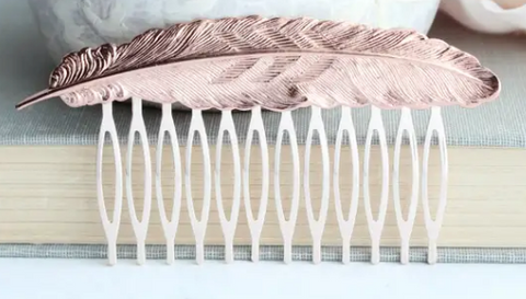 Big Feather Hair Comb - Silver or Rose Gold