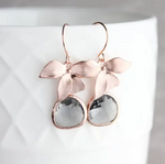 Rose Gold Orchid Earrings - Smoke Grey