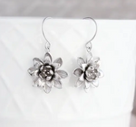 Lotus Flower Earrings - Silver